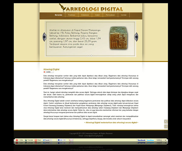 Halaman depan Arkeologi Digital | Web Design Arkeologi Digital by Irdiansyah